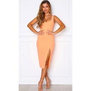 White Fox Boutique Peach Bliss Pop Midi Dress